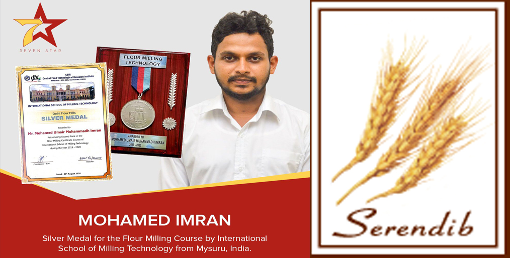 Mohamed Imran of Serendib Flour Mills was recently awarded the Silver Medal in the Flour Milling Course from India